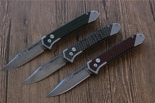 Protech carbon fiber Handle Spring Assist Tactical folding knife Damascus steel blade Outdoor knives camping Survival pocket knife 1pcs