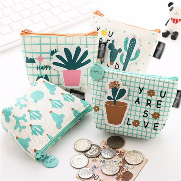 Emarlad Dos Desenhos Animados Bonito Bolsa de Moedas das Mulheres Meninas Pequeno saco de Dinheiro Bolsa de Dinheiro Da Lona Cactus Mudança Bolsa Bolsa Titular Chave