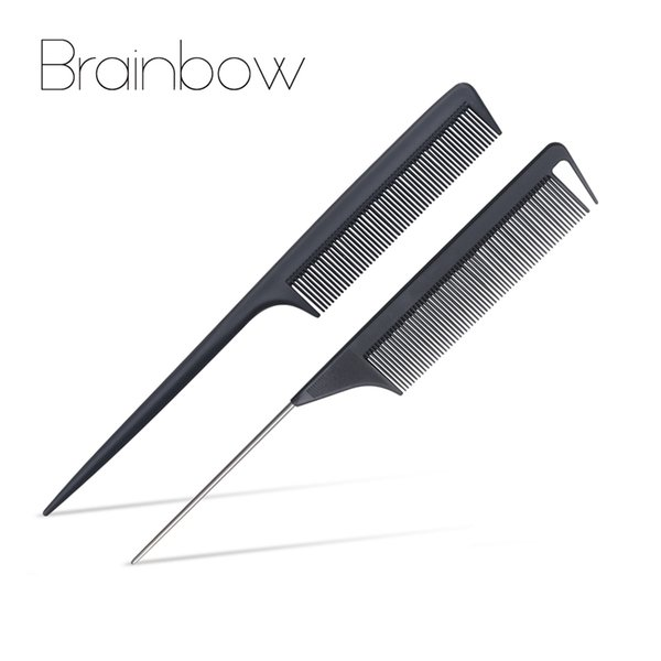 Combs Brainbow 2pcs Fine-tooth Hair Comb Metal Pin Anti-static Carbon Hair Brush Professional Pro Salon Hairdressing Styling Tools