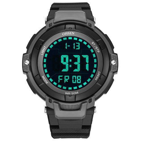OHSEN 1709 Men's Sport Watch Military Black Electronic Watch Man Quartz Digital Led Wristwatches Clock Male Casual Watches