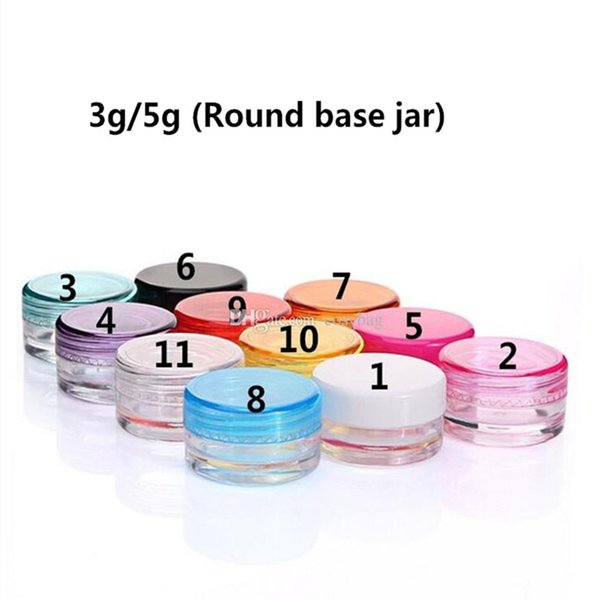Recipientes De Cera 5g / 3g Food Grade Caixa De Plástico Jar Caso Rodada / Base quadrada Cosméticos Pote Lip Balm Recipientes Jar Cera De Petróleo Vazio