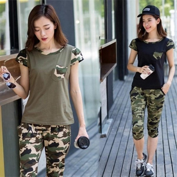 2018 summer army active wear suit women short sleeve tops + pants womens tracksuit two piece set two pieces sets