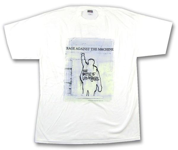 Rage Against The Machine Schlacht von LA Tour Weißes Hemd XL New NOS GIANT VintageMens Hipster Kurzarm T-Shirts