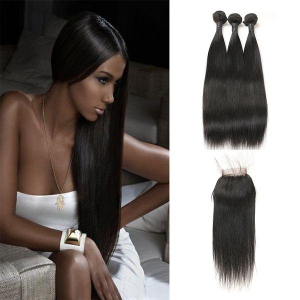 Estensioni Bundles vergini brasiliani dei capelli con la parte libera chiusura del merletto 100% capelli umani reali 3 pacchi grado superiore 9A