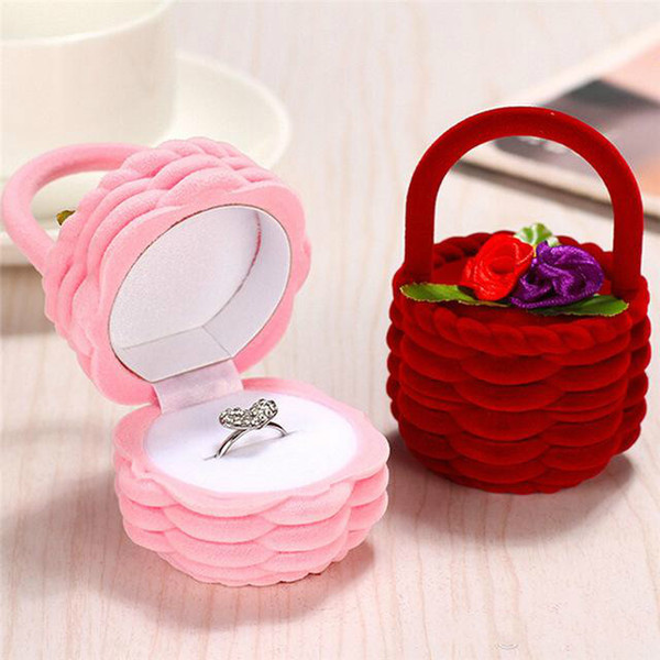 Earring Display Storage Box Jewelry Box Rose Flower Basket Design Women Finger Ring Case Wedding Decoration Jewelry Organizer Gift