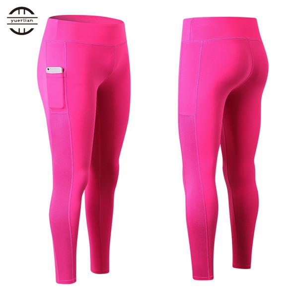 YEL 2017 Nouveau Sexy Filles Pocket Gym Long Pantalon De Yoga Pantalon De Sport Femmes Compression Running Pantalon Skinny Fitness Leggings Serrés