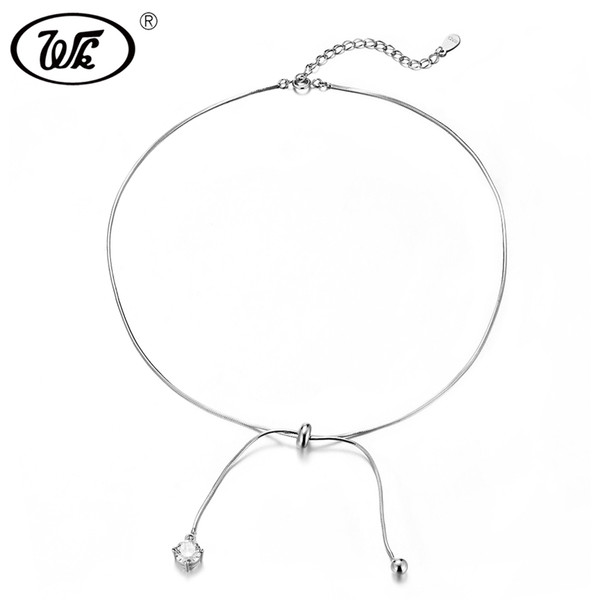 WK Trending Chocker 925 Sterling Silver Choker Necklace Short Chain With Drop Ball Crystal Chokers Necklaces For Women W4 NB092