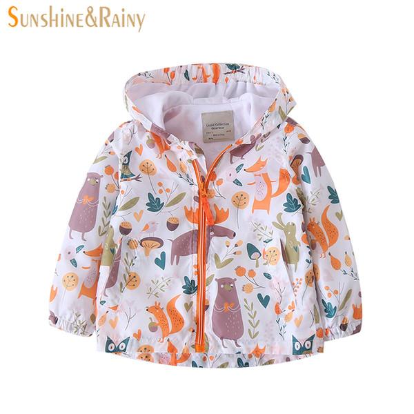 Sunshine & Rainy 2018 Spring Cartoon Graffiti Baby Girls Windbreaker Little Fox Printed Kids Boys Jackets Hooded Outerwear Y18102608