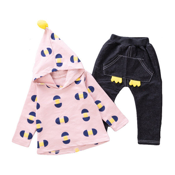 Kids Spring Hooded Clothes Set Girls Autumn Outfits Set Fashion Children Sports Set Kids Casual Clothing Cute Infant Babies Toddler 80-110CM