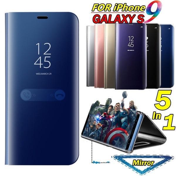 Nouvelle mise à niveau miroir étui en cuir pour Samsung Galaxy S9 placage miroir couverture Clear View mince portefeuille Flip Stand titulaire étui en cuir