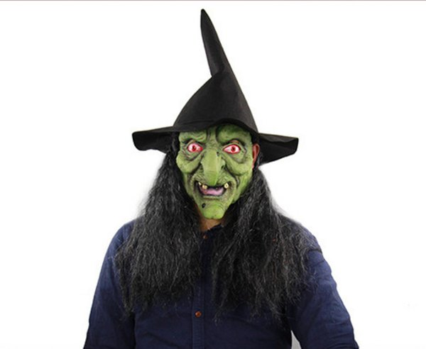 Halloween Horror Witch Green Head Gray Hair Mask Haunted House Room Escape Dress Up Live Whole Man Head Cover Wholesale Free Shipping