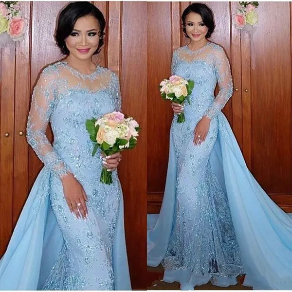 2018 Elegant Mother Of The Bride Dresses Jewel Neck Lace Appliques Beaded Long Sleeve Wedding Guest Dress For Mother Evening Gowns