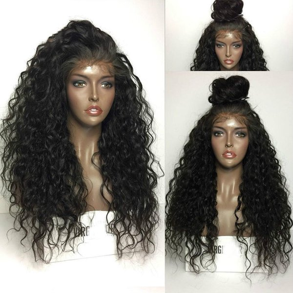 Pretty 8a cheap 100% unprocessed raw virgin remy human hair long natural color water wave full lace cap wig for women