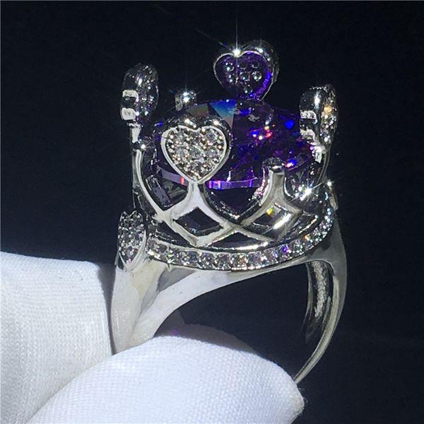 Erstaunliche Prinzessin Crown Ring Lila Cz Crystal White Gold gefüllt Party Hochzeit Band Ringe für Frauen Großhandel Schmuck