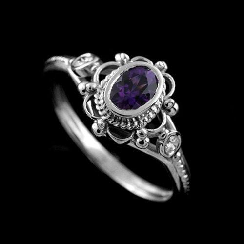 Jóia das mulheres do vintage 925 anel de prata requintado ametista / rubi antigo presente de aniversário retro proposta anéis de noivado