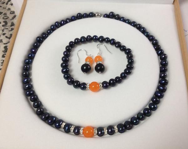 Black Akoya Cultured Pearl/Orange Jade bracelets necklace earrings set No box<<<free shipping