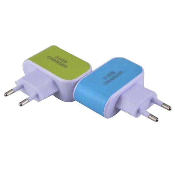 Precio barato 3 USB Cargadores de pared Adaptador de corriente 5V 3.1A LED Viaje Conveniente adaptador de corriente con puertos triples USB con bolsa de opp