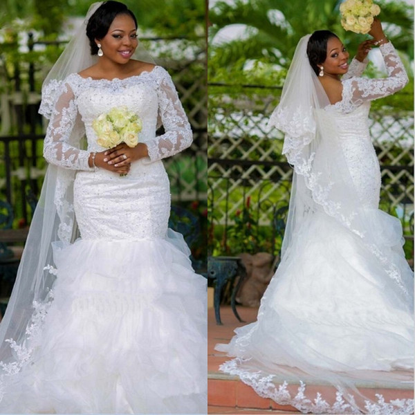 Plus Size Wedding Dress South African Long Sleeve Beads Lace Appliques Organza Mermaid Wedding Dresses Robe De Bridal Wedding Gowns
