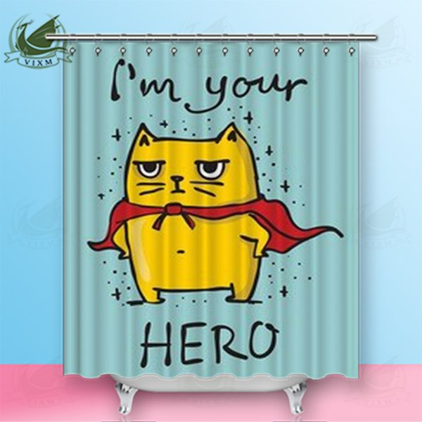 "Vixm Home Superhero Cartoon Cat Fabric Shower Curtain Nine Window Images Bath Curtain For Bathroom With Hook Rings 72"" X 72"""