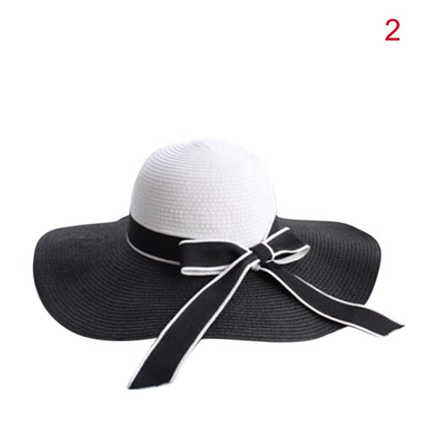 9037e3aea Fashion Summer Sun Hat Hepburn Wind Black White Striped Bowknot Beautiful  Women Straw Beach Hat Large Brimmed Hat Store Fedora Hats For Men From ...