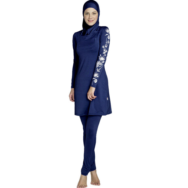 Plus 5XL 2018 New Burkinis Muslim Swimsuit Modest Clothing Islamic 3 Pieces Separated Women Wear Long muslimah Swimwear Hijab