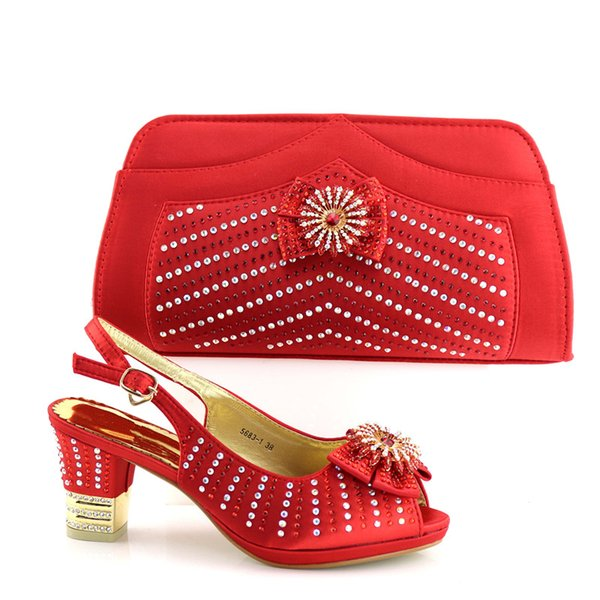 Red color 7cm heels matching fashion bag in Best quality Italian Shoes match bag set