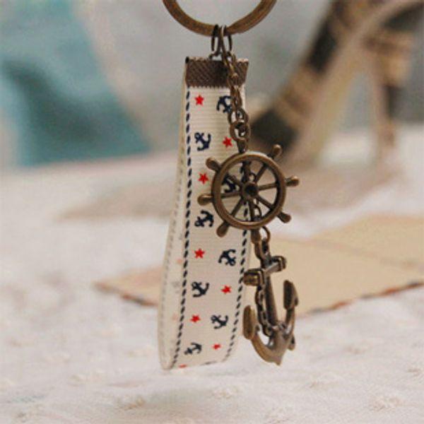 Nautique Bronzé Ancre Porte-clés Porte-clés avec corde de tissu personnalisé Gadget Cadeaux D'anniversaire Vintage Bijoux De Mer K005