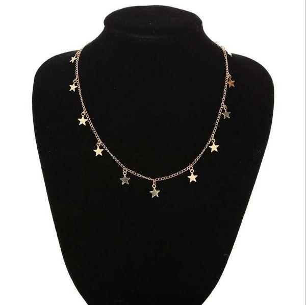 Мода простой европейский и американский стиль женщин сплава покрытие ожерелье длинные личности пятиконечная звезда кулон новый