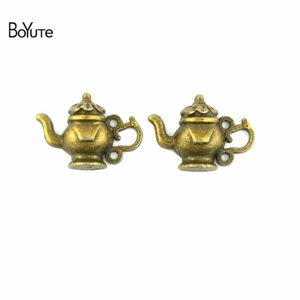 BoYuTe (100 Pieces/Lot) 15*22MM Vintage Style Zinc Alloy Antique Bronze Plated Teapot Pendant Charms for Jewelry Making Diy Findings