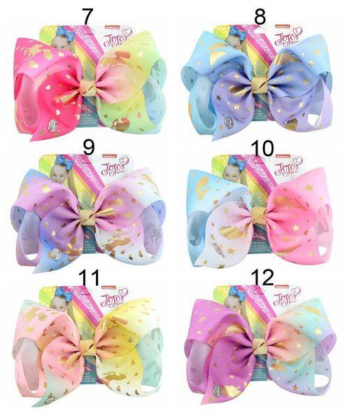 12Styles Jojo Siwa Hair Bow With Clips Papercard Metal Logo Girls Giant Rainbow Rhinestone 8 inch Hair Accessories Hairpin hairband