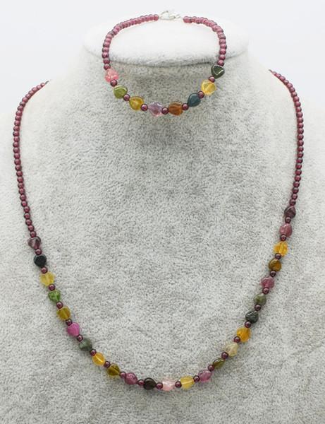 un ensemble de pierre tourmaline rond coeur grenat rouge 3mm collier bracelet 18