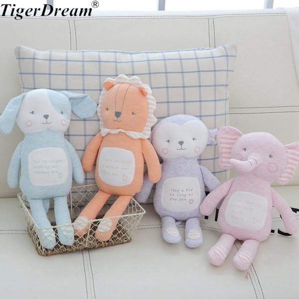 35CM Kawaii Dog Monkey Lion Elephant Plush Toys Soft PP Cotton Stuffed Animal Sleeping Dolls Baby For Kids Birthday Gift 4 Style