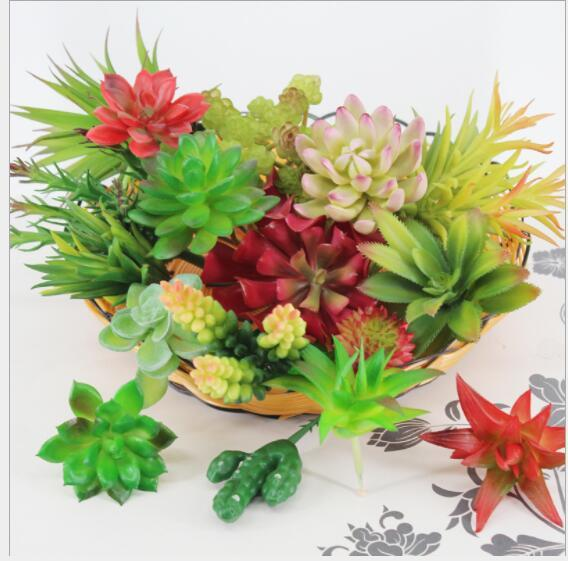 Plantas artificiais Com Vaso Bonsai Cactus Tropical Planta Suculenta Falso Potted Office Home Decorativa Vaso De Flores