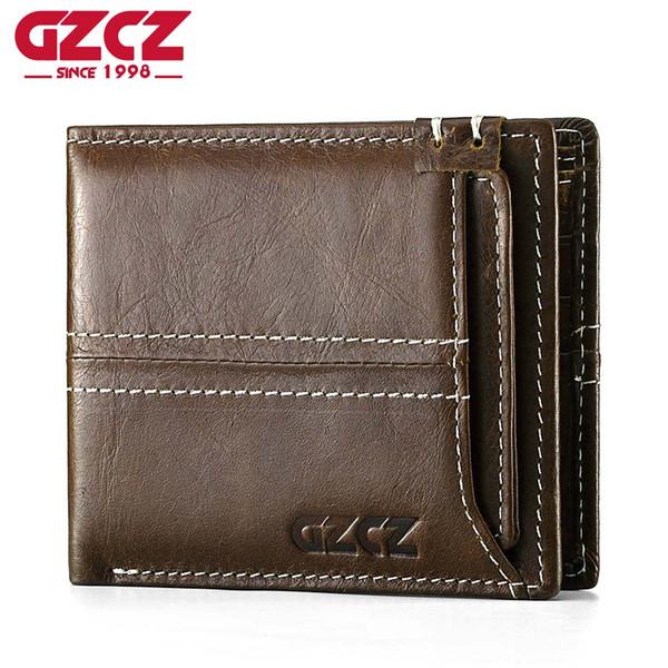 GZCZ Männer Brieftasche Geldbörse Kleine Vintage Echtem Leder Vallet Mini Geld Tasche Portomonee Casual Männlichen Walet Bifold