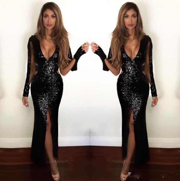Sexy Blingbling Black Long Sleeves Prom Dresses 2018 Plunging V Neck Cutaway Sides Long Split Evening Gowns Vestidos de fiesta
