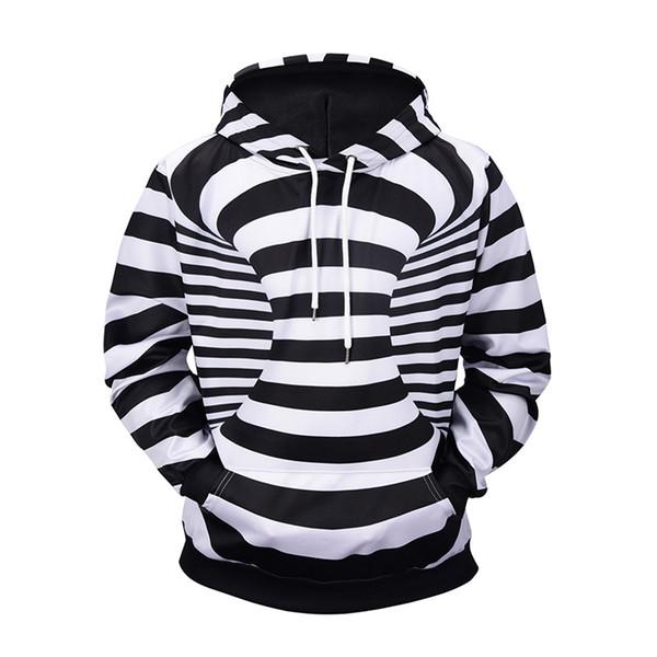 Black White Striped Newest Fashion Men/Women Tops 3d Printing Hoodies Sweatshirt Unisxe Funny Long Sleeved 3D Hoodies N105