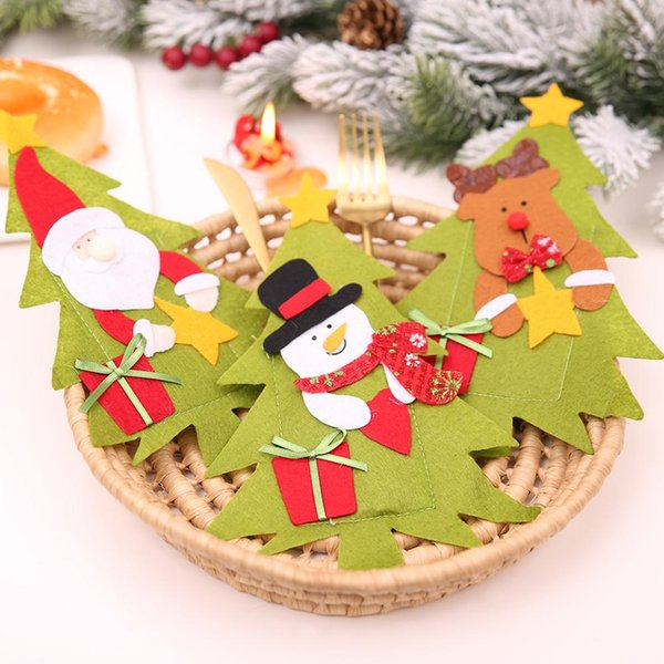Christmas Gift Wrap Design.Christmas Tree Shaped Santa Claus Snowman Knife Fork Cutlery Bag Cover Christmas Decorations For New Year Party Table Decoration Gift Wrap Christmas