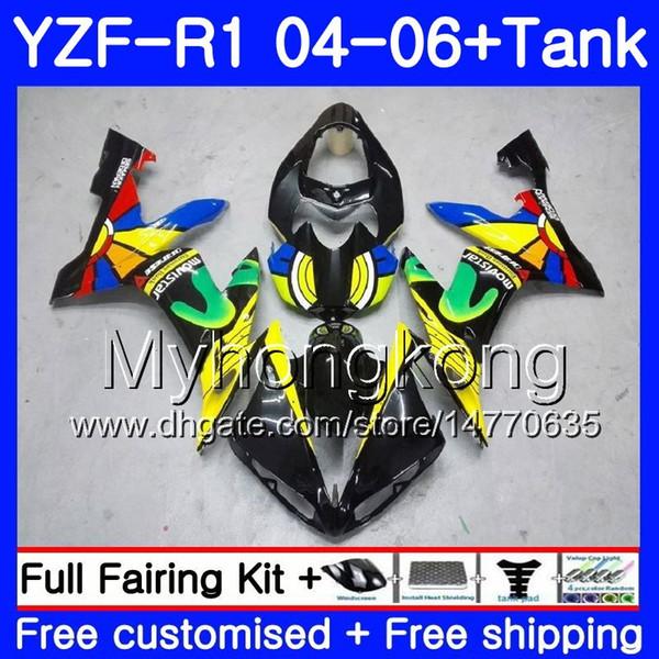 Body+Tank For YAMAHA YZF R 1 YZF-1000 YZF 1000 rainbow yellow hot YZFR1 04 05 06 232HM.9 YZF1000 YZF-R1 04 06 YZF R1 2004 2005 2006 Fairing