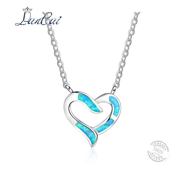 LANCAI Basit Stil Dolgulu Mavi Yangın Opal Sevimli Aşk Kalp Kolye Kadınlar için 925 Ayar Gümüş Kolye Kolye Güzel Takı