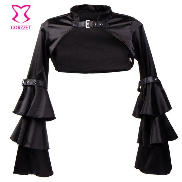 Wholesale- Victorian Black Satin Ruffle Tiered Long Flare Sleeve Gothic Jacket Women Coats Short Bolero Outwear Steampunk Clothing