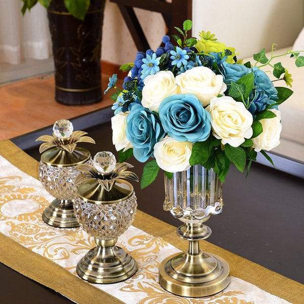 Vaso di cristallo Vaso Figurine Artigianato Decorazione Home Contenitore di caramelle Bottiglie di stoccaggio Vaso Decor Soggiorno mensola Libreria ornamento