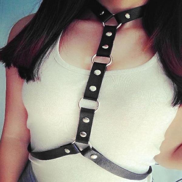 Women Body Bondage Straps Punk Style PU Leather Harness Sexy Waist Belts Black Street Style Girls Adjustable Buckles Suspenders