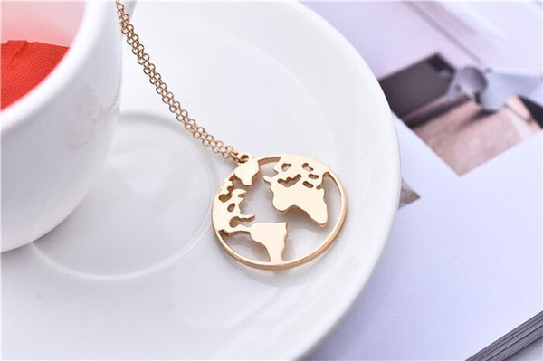 10pcs Gold Silver Trendy World Map Circle Necklace Hollow Out Globe Pendant Jewelry Gift for Friends