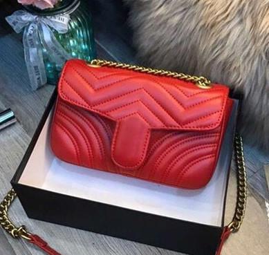 Luxuxklassisches echtes Leder-Dame Messenger Bags Mode Liebesherz V-Wellen-Muster-Schultaschen-Designer-Schulter-Beutel-Ketten-Handtaschen-Geldbeutel
