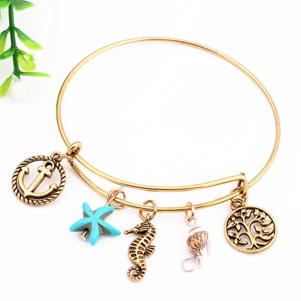 Gold Tree Of Life Charm Bracelet With fashion Design Women Silver Anchor Sea Horse Lettering Message Pendant Adjustable Wire Bangle Gift