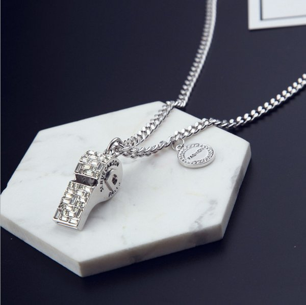 Crystal Whistle pendant Sweater Chain Famous Luxury Designer Fashion Charm Jewelry Brand Necklace 2018 New For Women