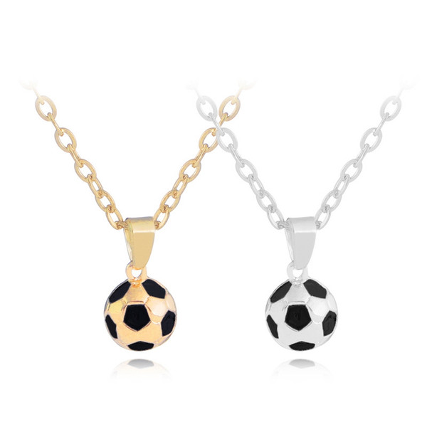 New 2018 World Cup Football Pendant Necklace Trendy Gold Tone 3D Soccer Gym Fitness Necklace For Fans Gift Drop Shipping