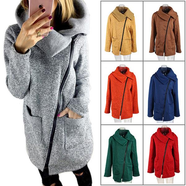 11 estilos mujeres lado cuello de la cremallera abrigo de manga larga polar sudadera con capucha suéter exterior informal suéter Outwear Sherpa chaqueta informal FFA1279