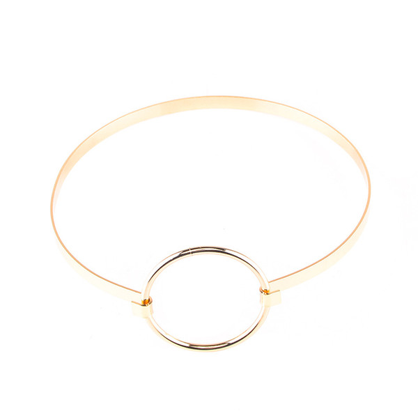 Silver/Gold Punk Gothic Metal Circle Choker Necklace For Women Maxi Statement Chocker Chocker Necklace Collier Femme F6022
