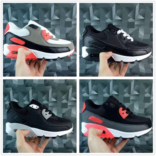 Großhandel Nike Air Max Airmax 90 Kids Sneakers Schuhe Classic 90 Laufschuhe Schwarz Weiß Trainer Infant Girl Boy Trainer Kissen Oberfläche